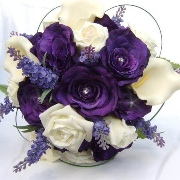 Dark Purple And Ivory Roses With Faux Diamond Centers Subtle Calla Lillies Lavender Stems Finished Bear Gr Loops